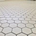 Honeycomb tile in bathrooms.