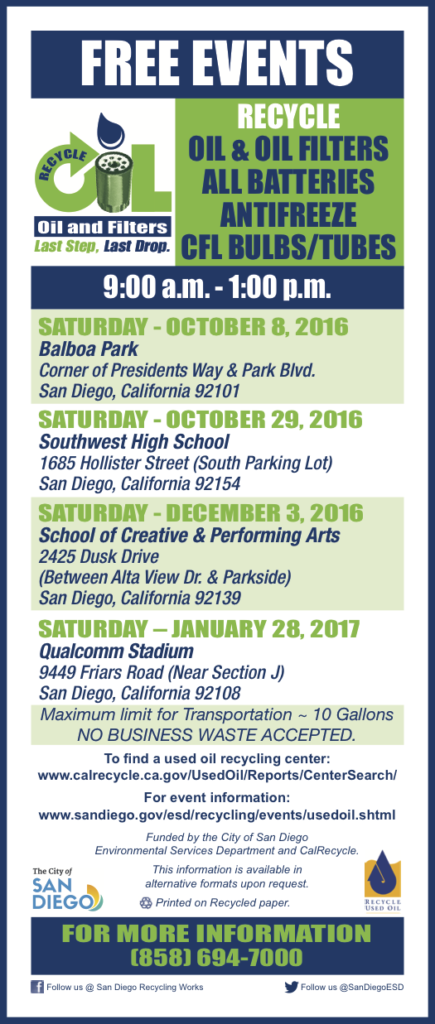 Free Event in San Diego Recycle Oil, Filters